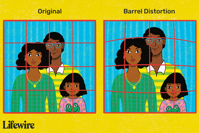Barrel distortion in a picture of a family