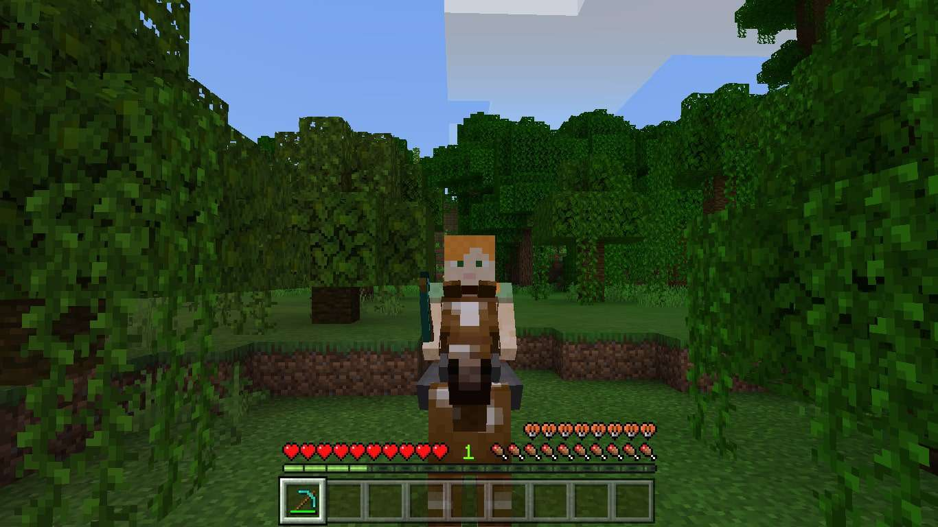 Riding a horse with a saddle in Minecraft
