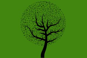 A clipart tree filled with music notes.