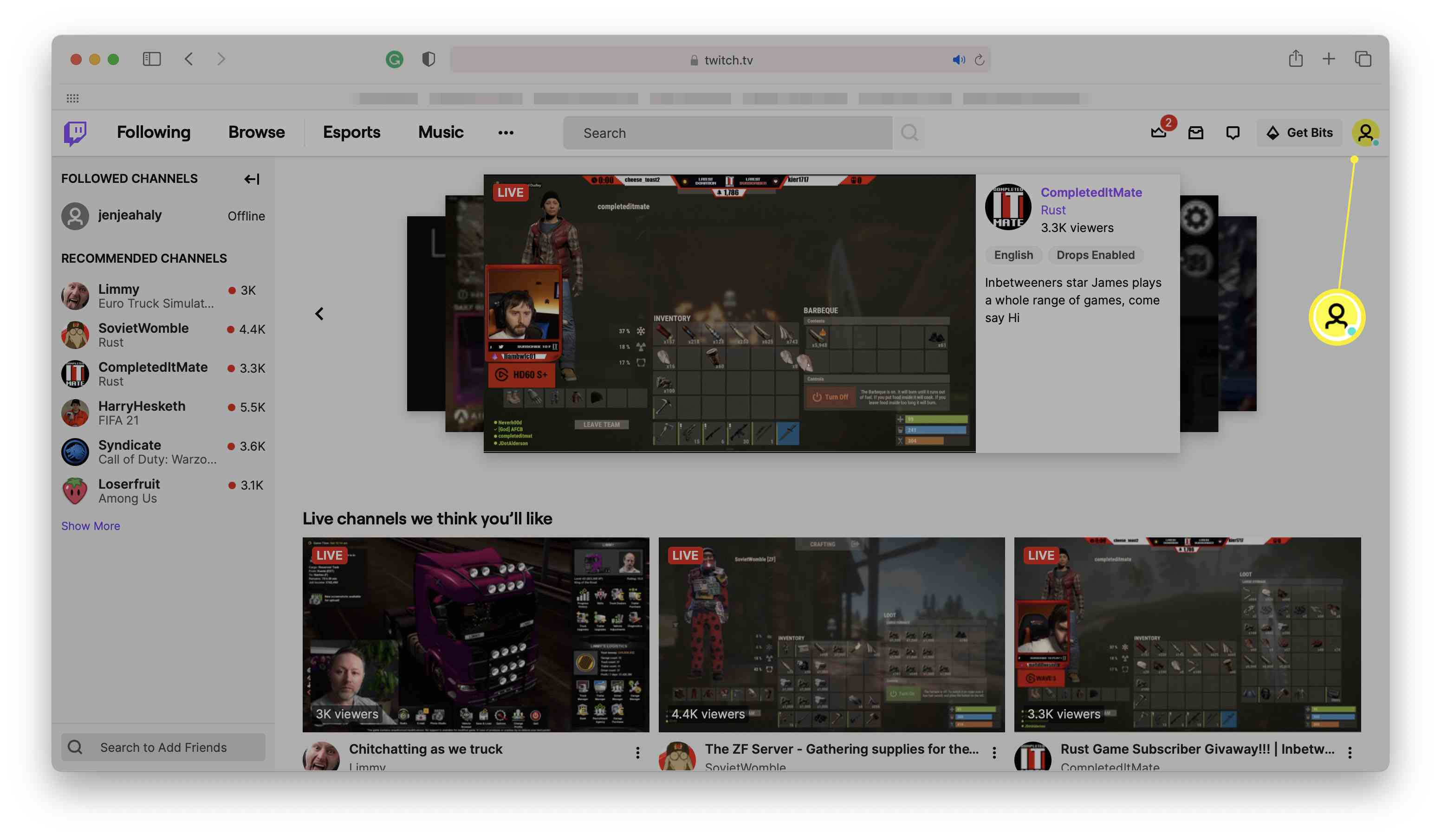 Twitch homepage with profile picture highlighted