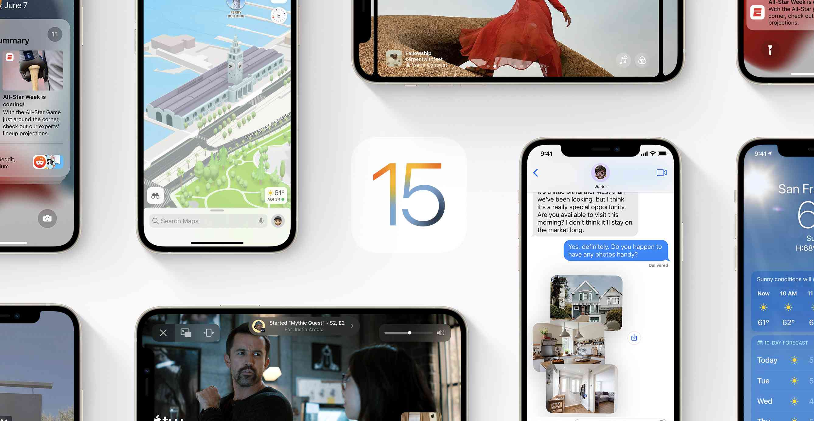 The iOS 15 logo surrounded by phones showing off features
