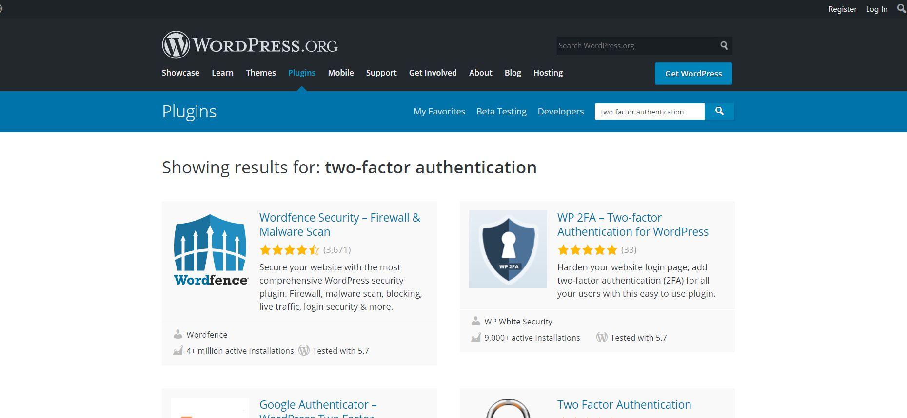 The Wordpress plugins page