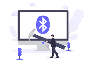 Bluetooth icon on computer screen with hammer