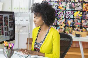 Black businesswoman working on computer