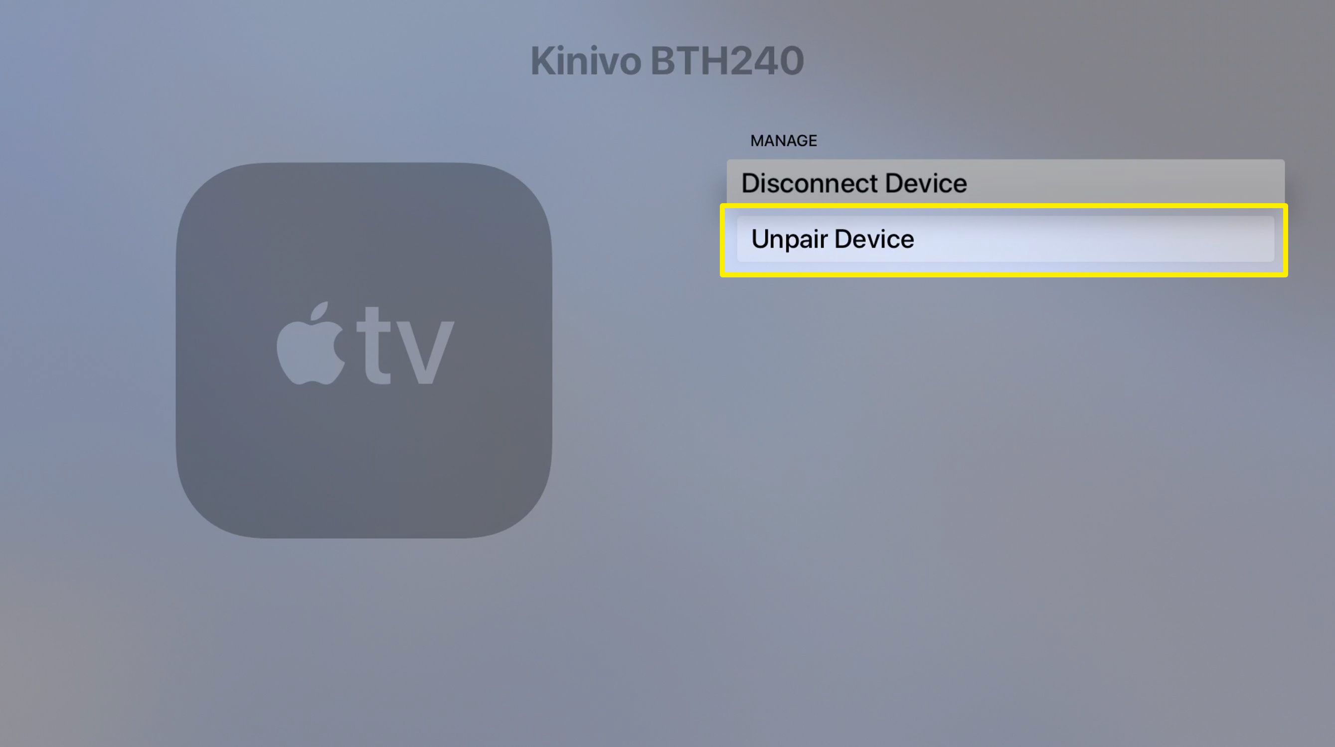 Screenshot of Apple TV Disconnect Bluetooth devices screen