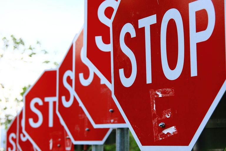 Red signal sign of stop