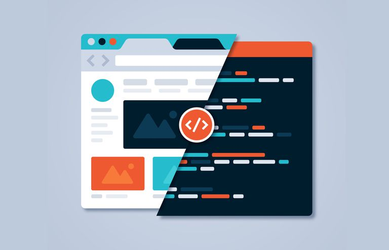 Vector art image of a browser rendering a webpage in two different styles, separated by a slash across the middle of the page