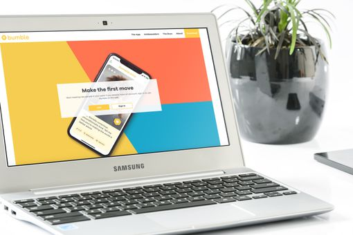 Bumble.com on a laptop.