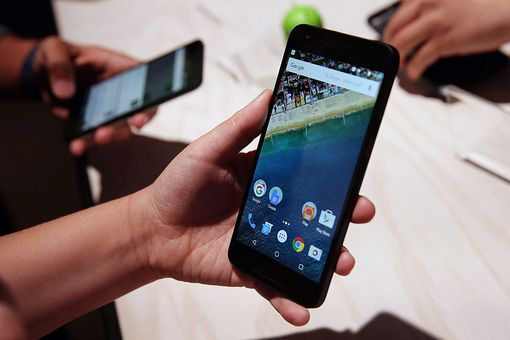 A Google smartphone with preloaded apps on display