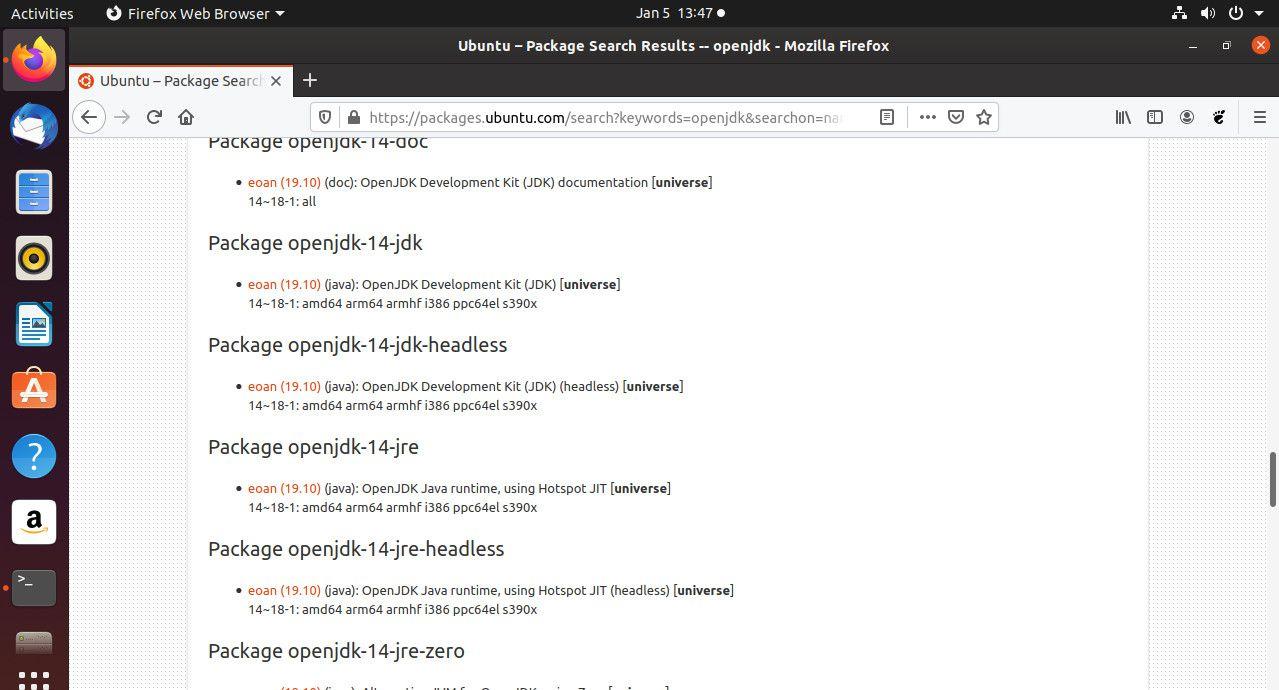 Ubuntu OpenJDK search results