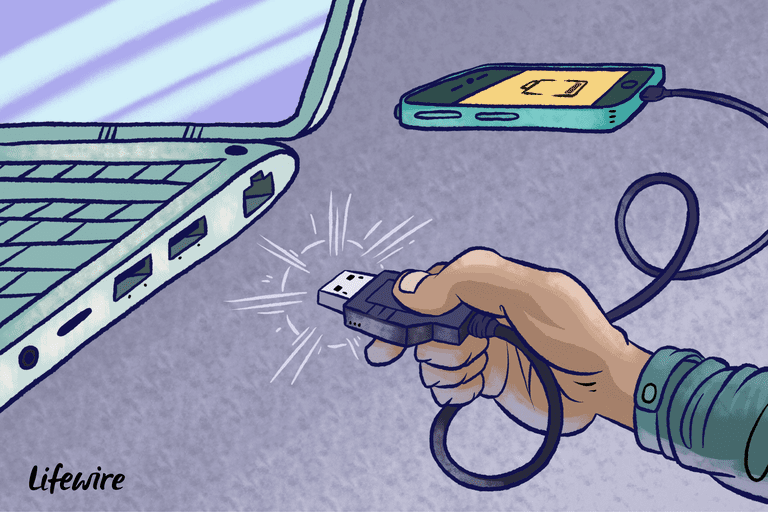 illustration of a hand plugging a usb cord into a usb port