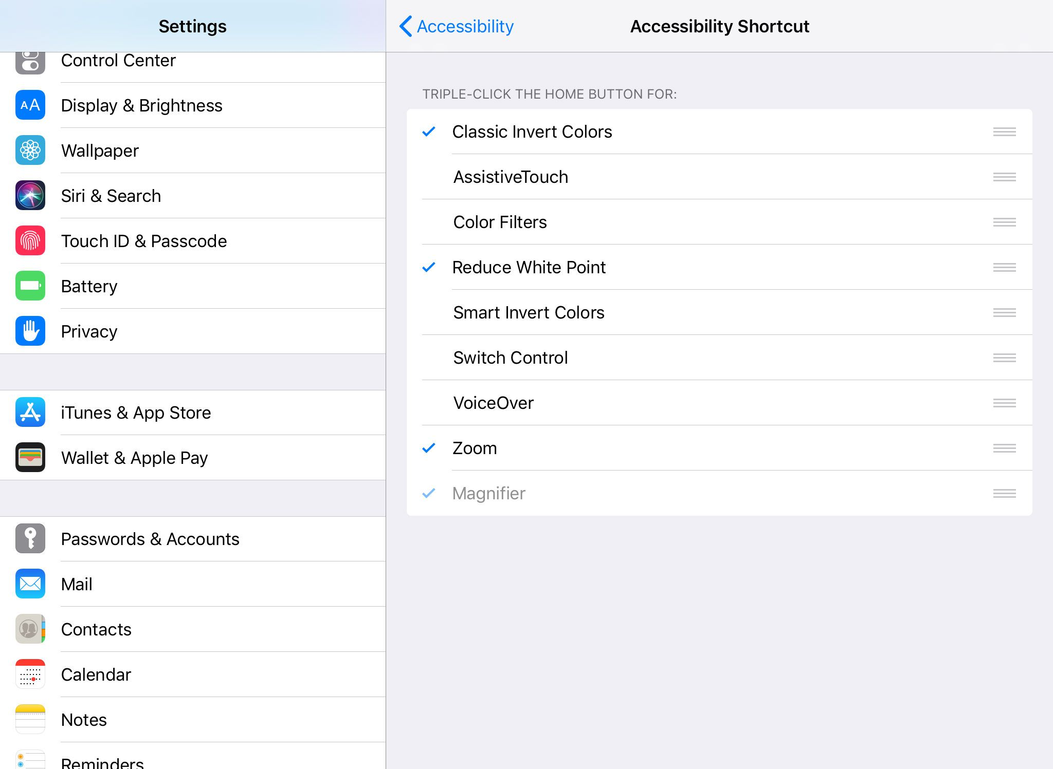 The Accessibility Shortcut options on an iPad