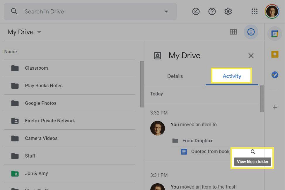 Recent activity screen in Google Drive.