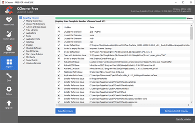 list of registry issues in ccleaner