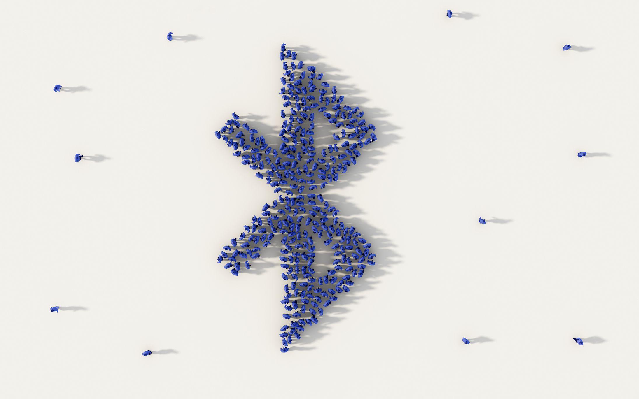 Photo illustration of a Bluetooth logo.