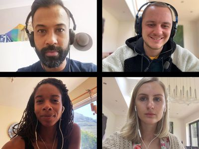 Screen of four friends connecting on video call.
