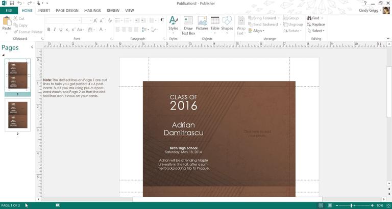 Elegant Brown Graduation Template or Printable for Microsoft Publisher