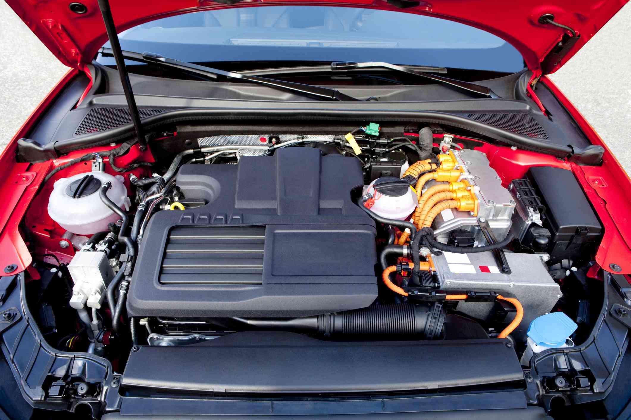 A hybrid car engine.