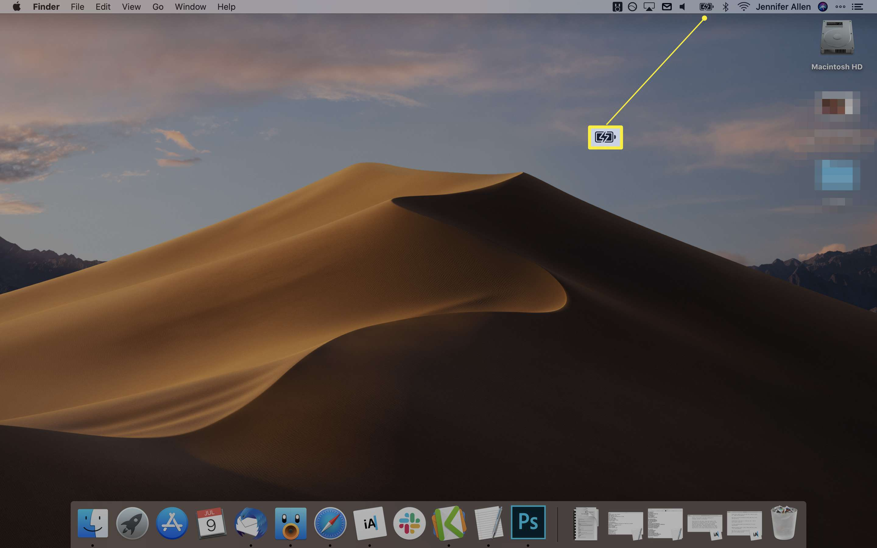 MacOS desktop screen with the battery icon highlighted