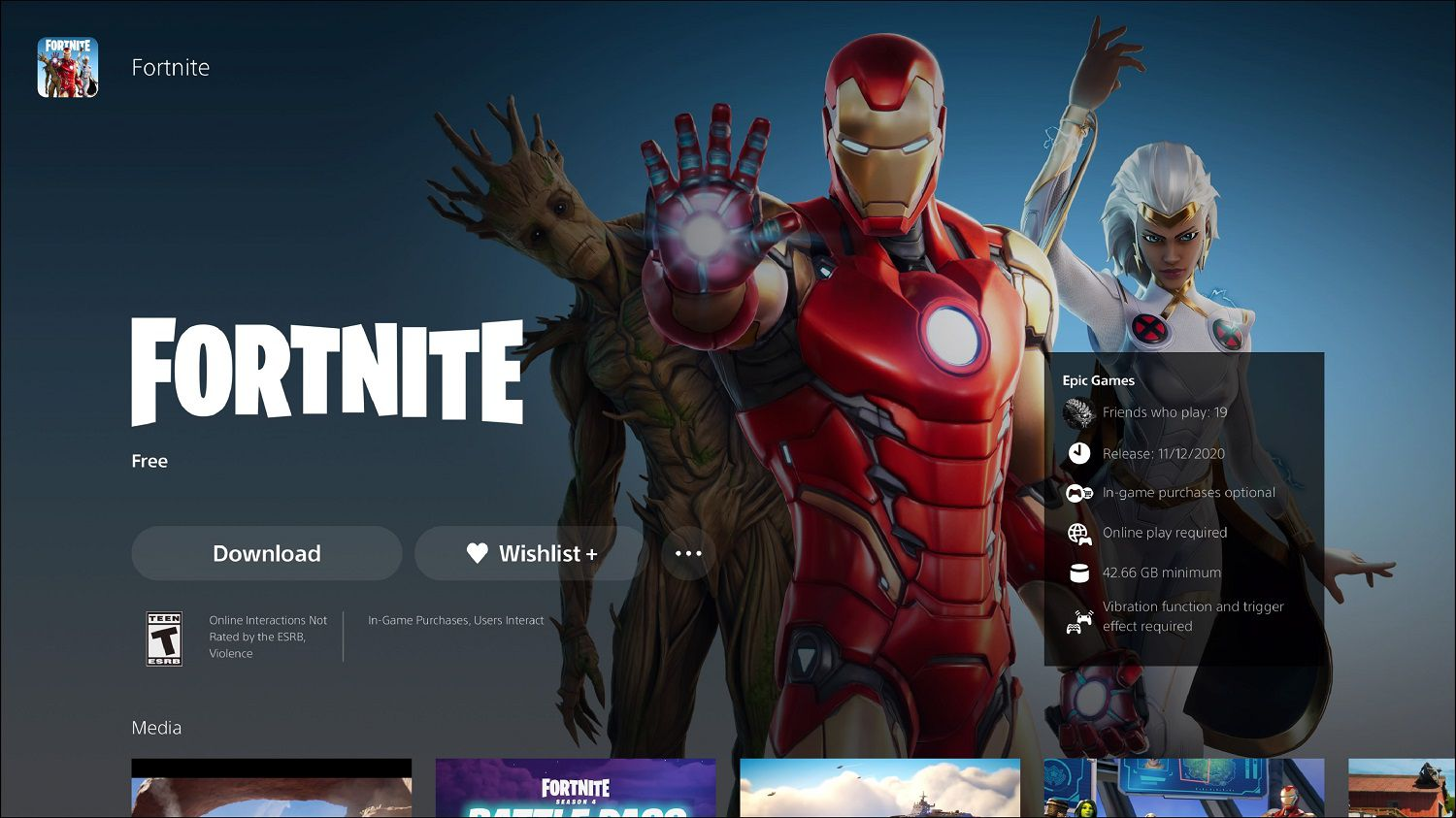 PS5 store Fortnite download