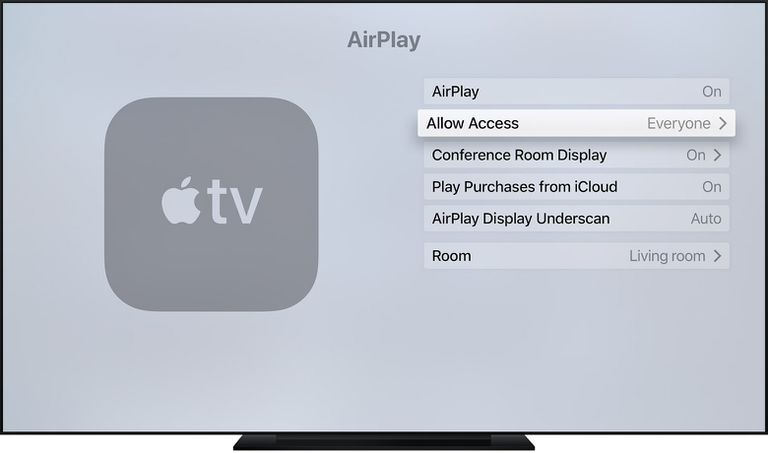 AirPlay settings on Apple TV