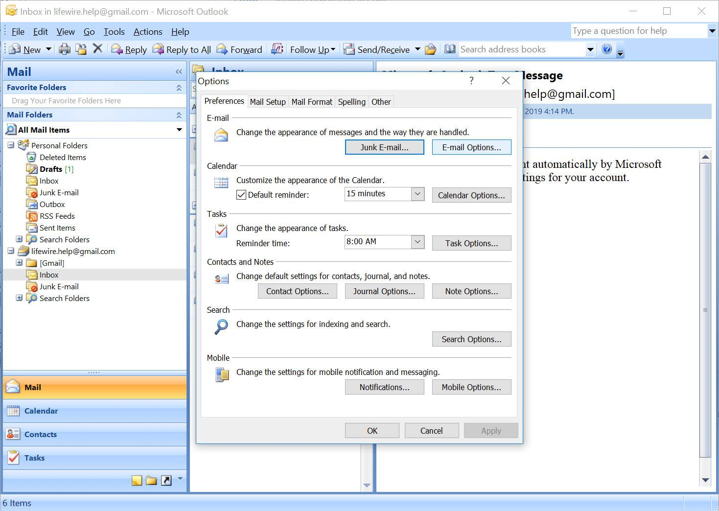 Outlook 2007 Options menu with E-mail Options selected