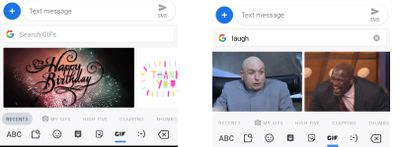 GIFs on Android when searching Happy Birthday and laugh in the messaging app
