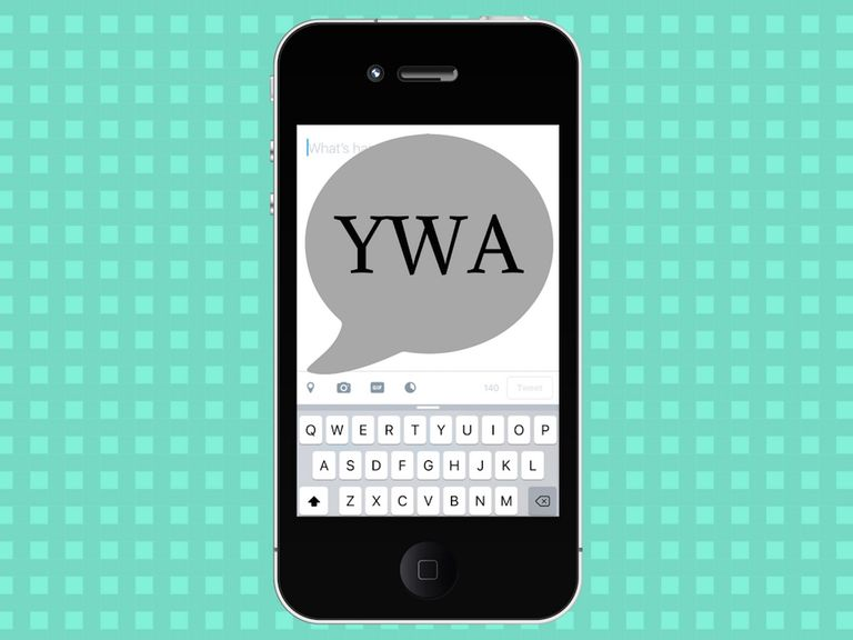 Texting acronym YWA on a cell phone