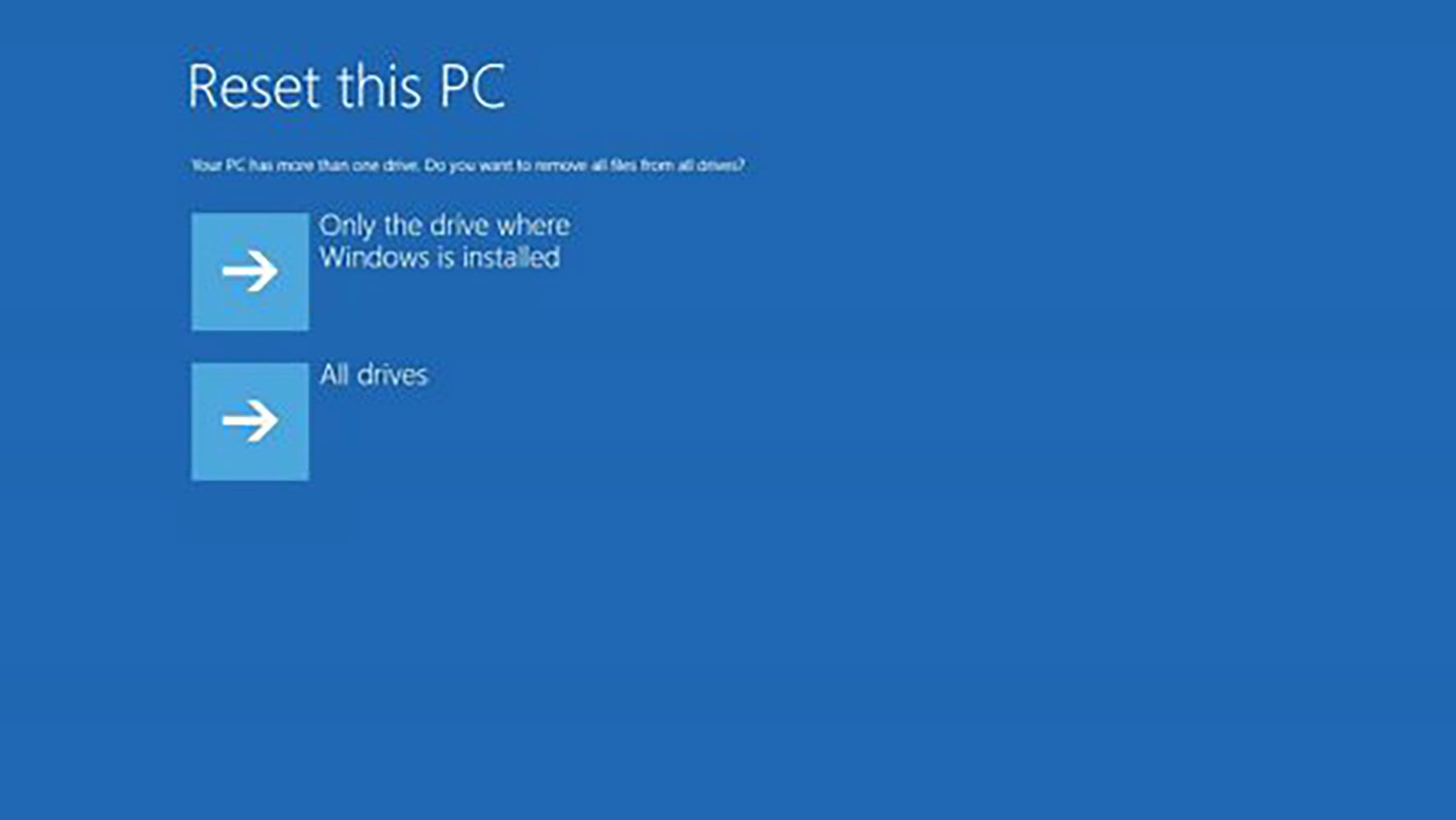 Drive options for resetting a PC