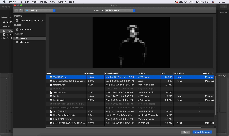 iMovie select file