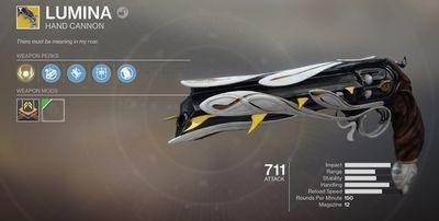 The Lumina Hand Cannon in Destiny 2