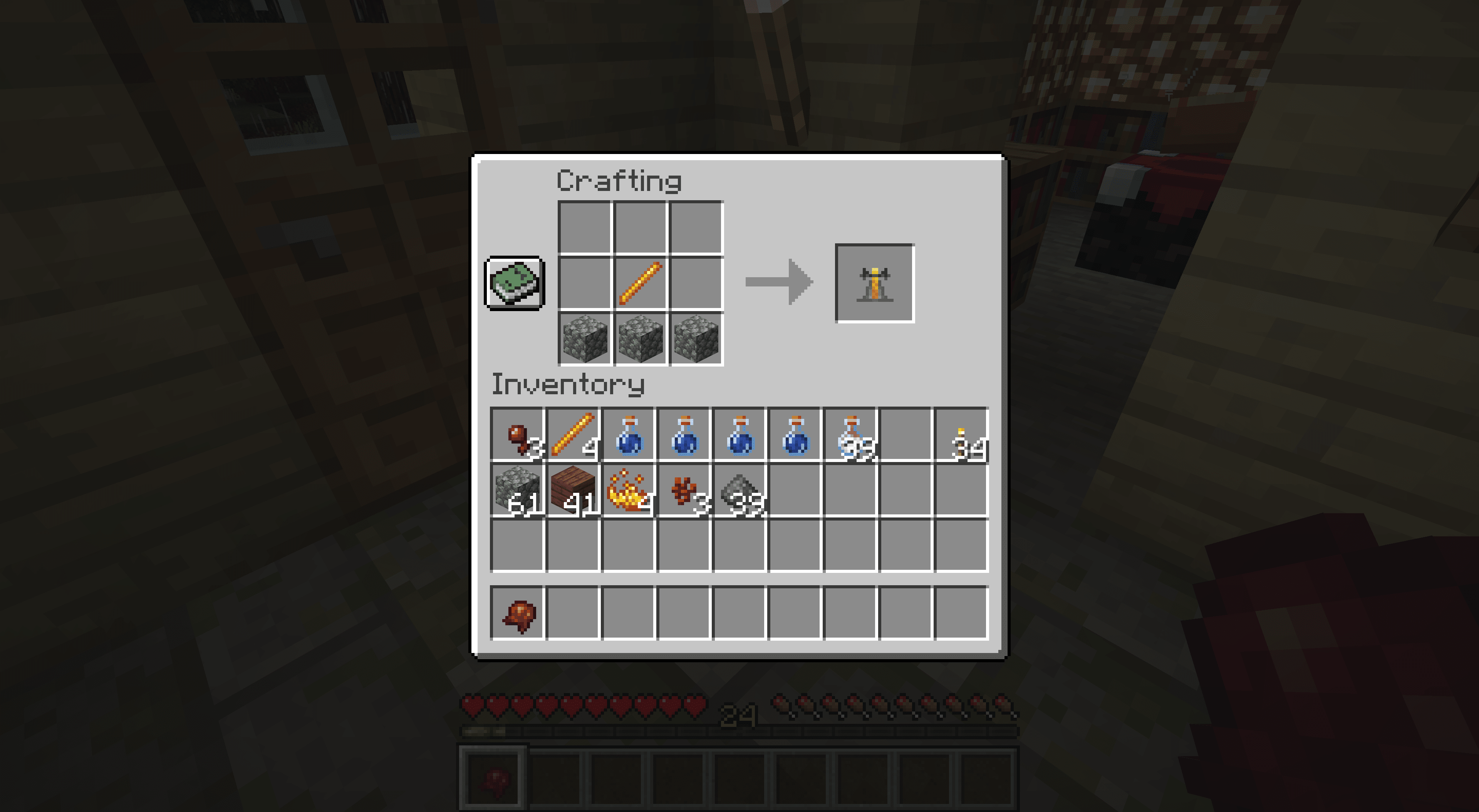 Making a Brewing Stand in Minecraft.
