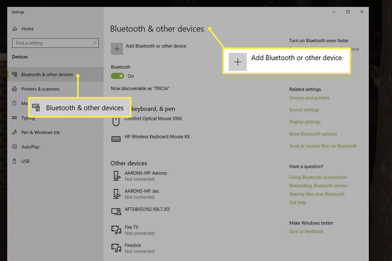Bluetooth & other devices in Windows
