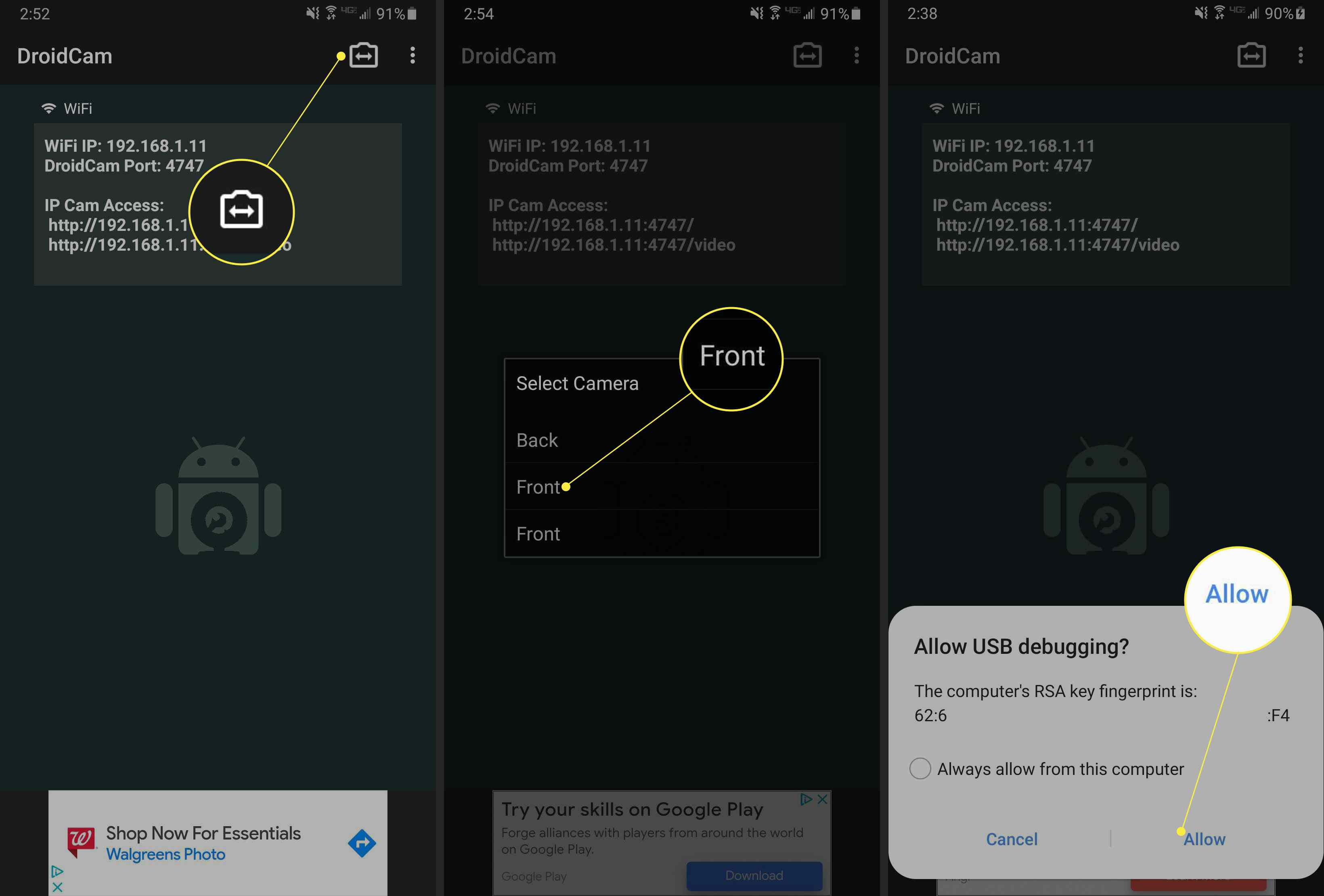 DroidCam mobile app allow USB debugging with camera icon, Front, and Allow highlighted