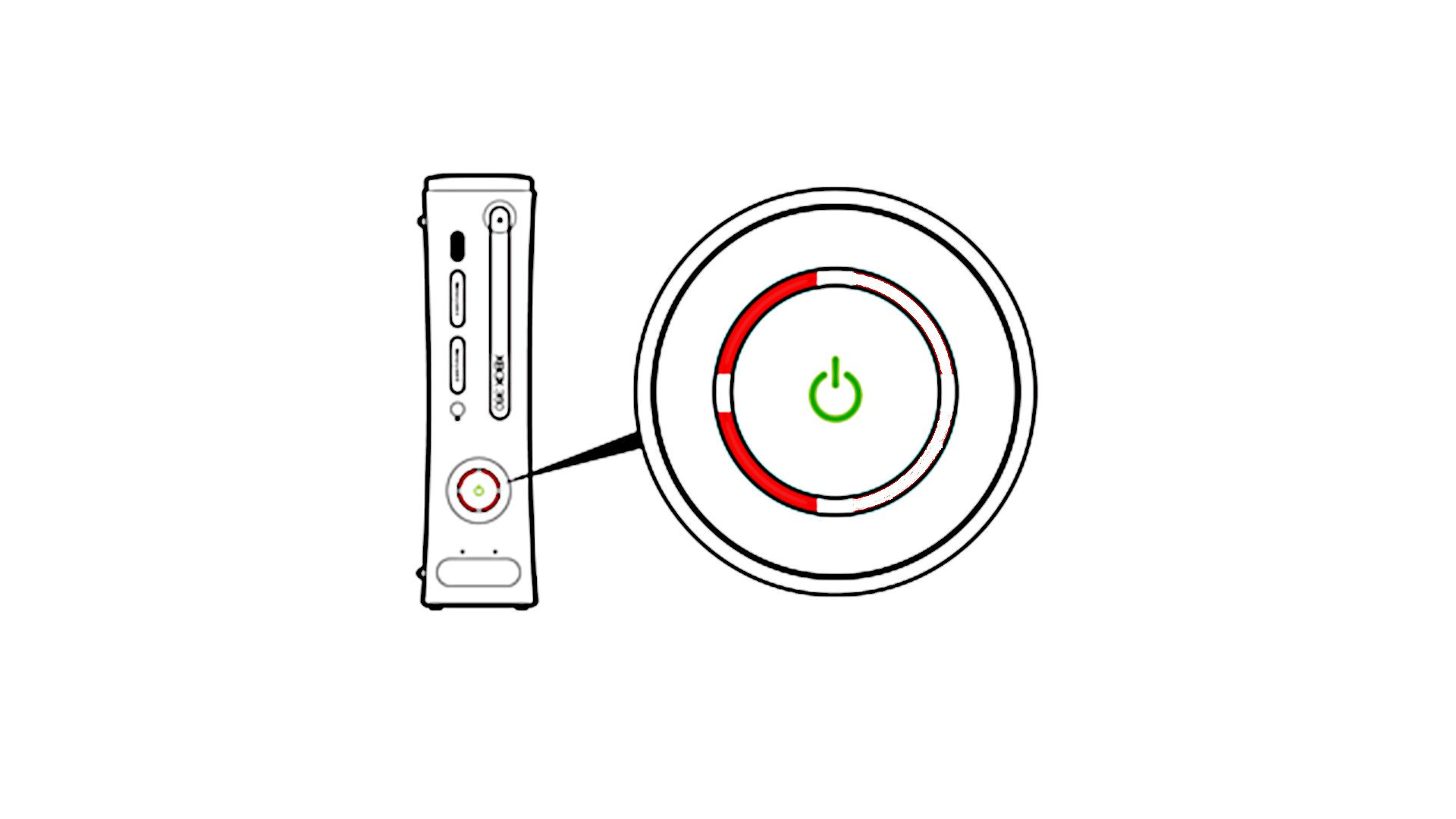 Xbox 360 with two red LEDs illuminated