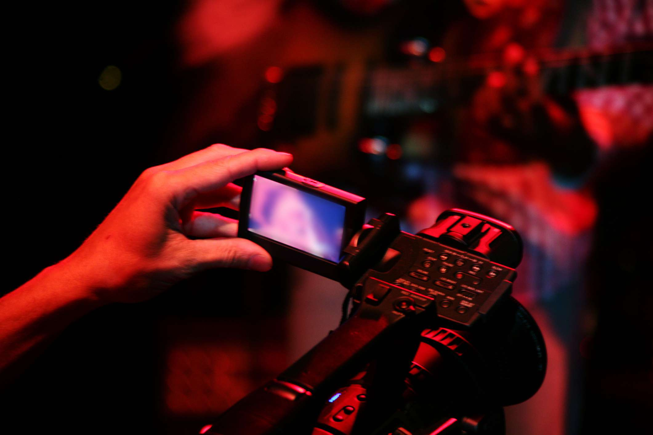 USA, New York City, Singer in camera