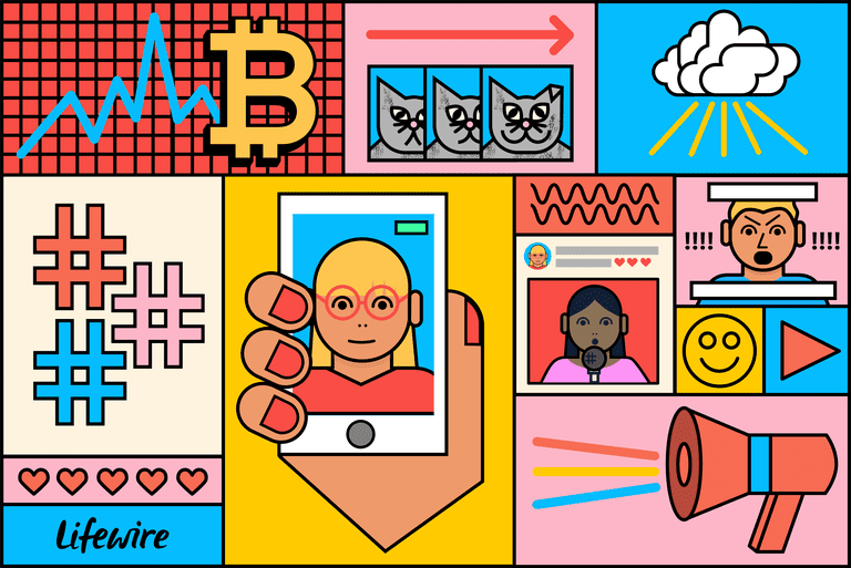 Collage of images representing the top internet trends with Bitcoin, cats, hashtags, and a selfie
