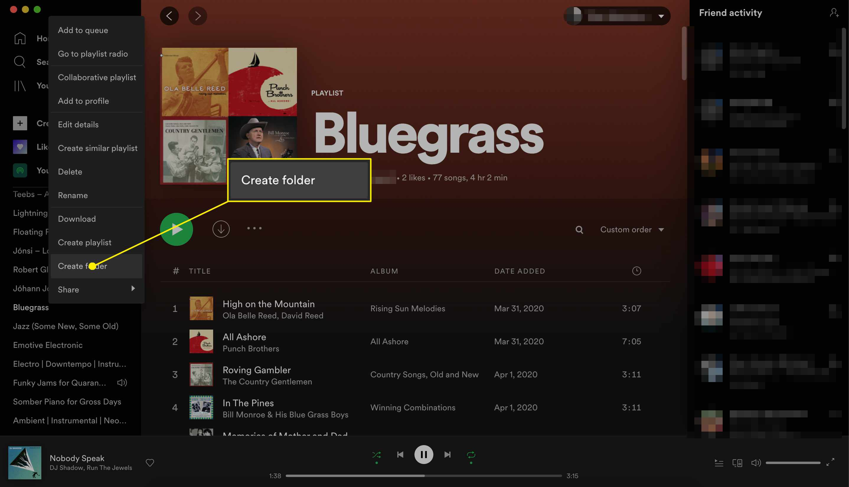 Spotify playlist create folder