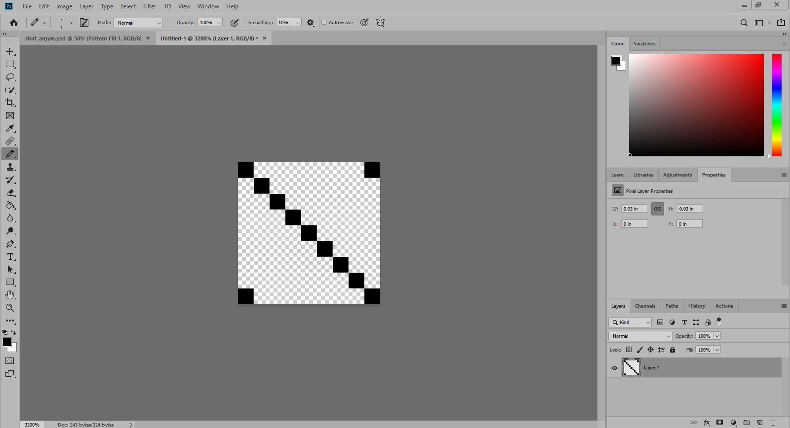 A custom pattern is drawn in Photoshop.