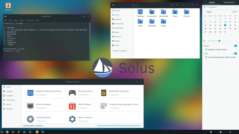 The Solus Linux desktop environment.