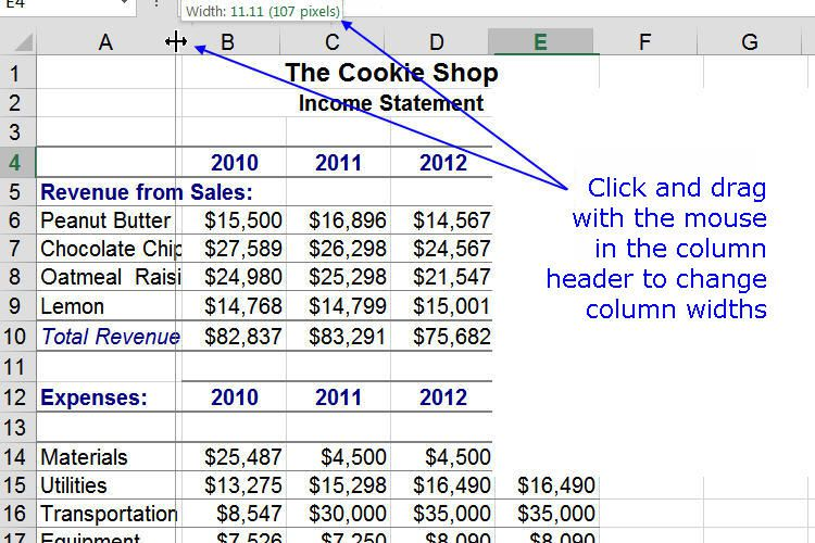 Change Spreadsheet Column Widths Using the Mouse