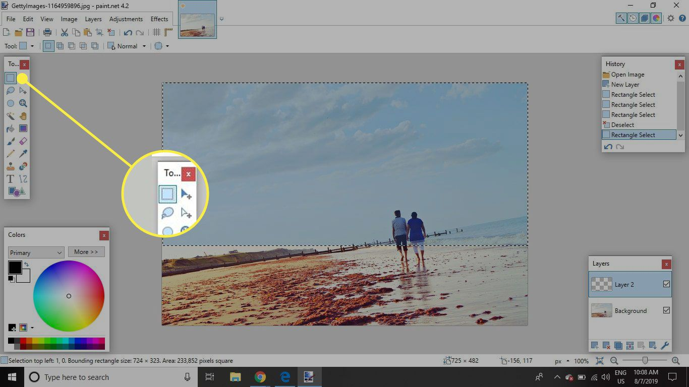 A screenshot of Paint.NET with the Rectangle tool highlighted