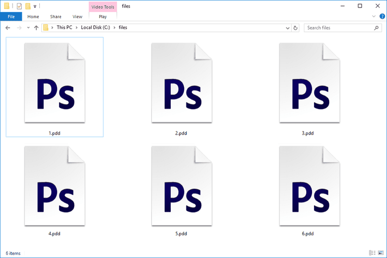 Screenshot of several PDD files in Windows 10