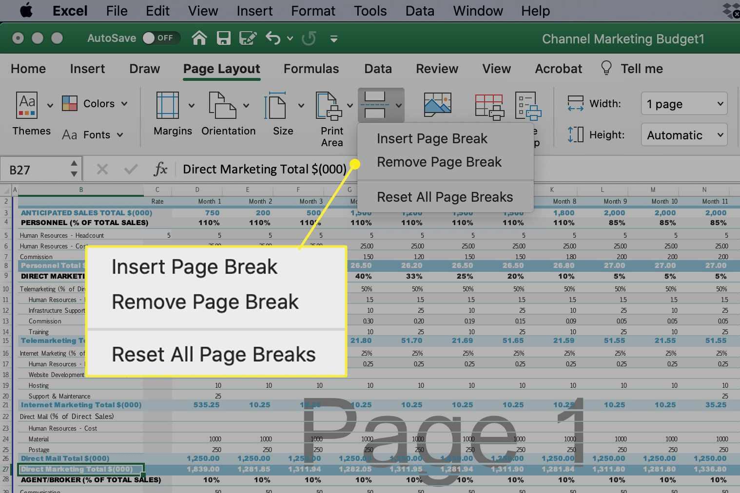 Page Break options