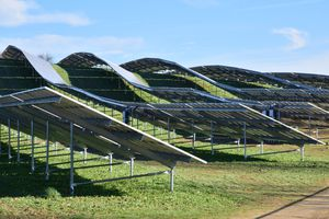 A view of solar panels placed in a field