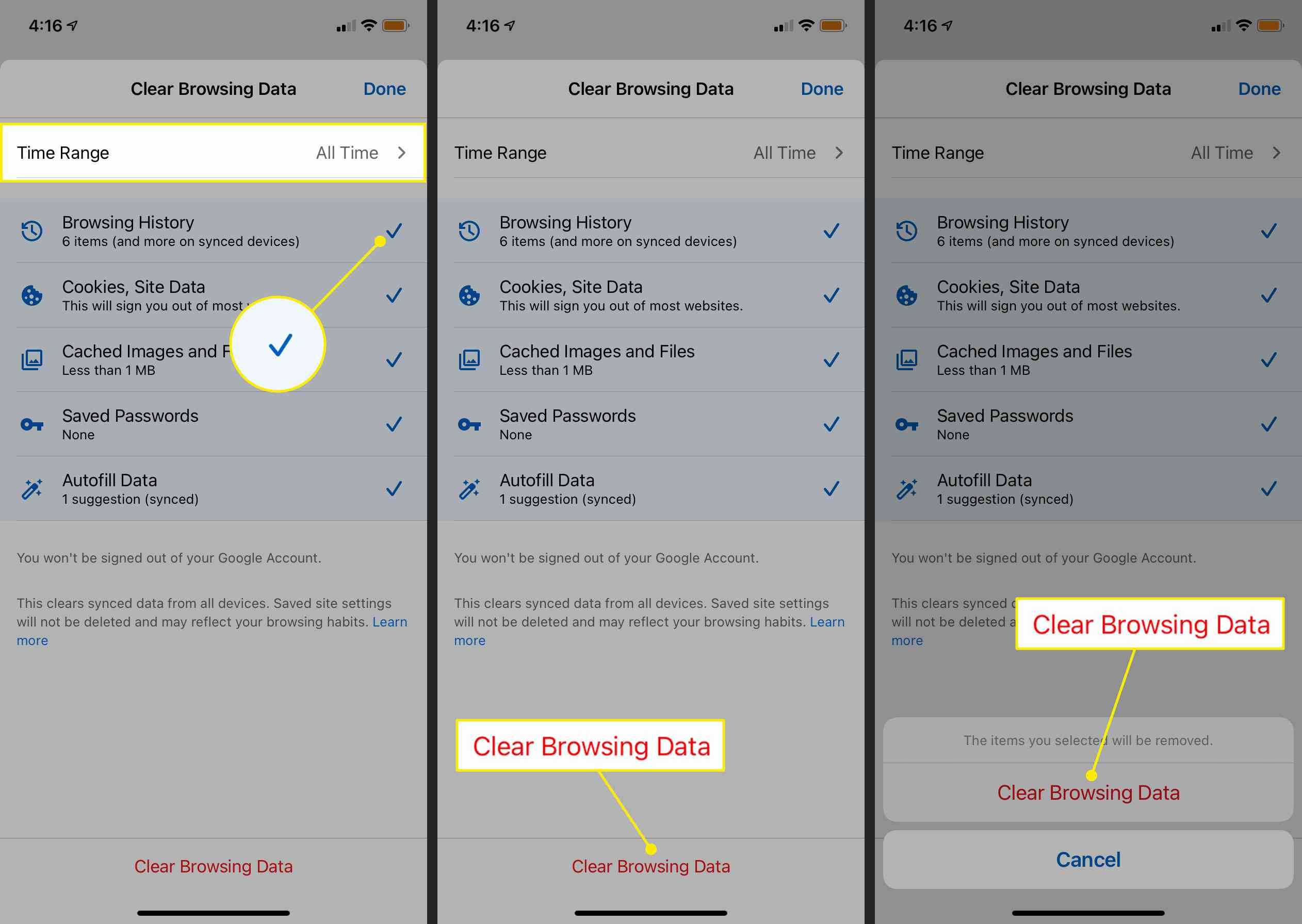 The Time Range and Clear Browsing Data commands