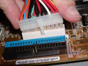 Connecting the ATX power connector to a motherboard
