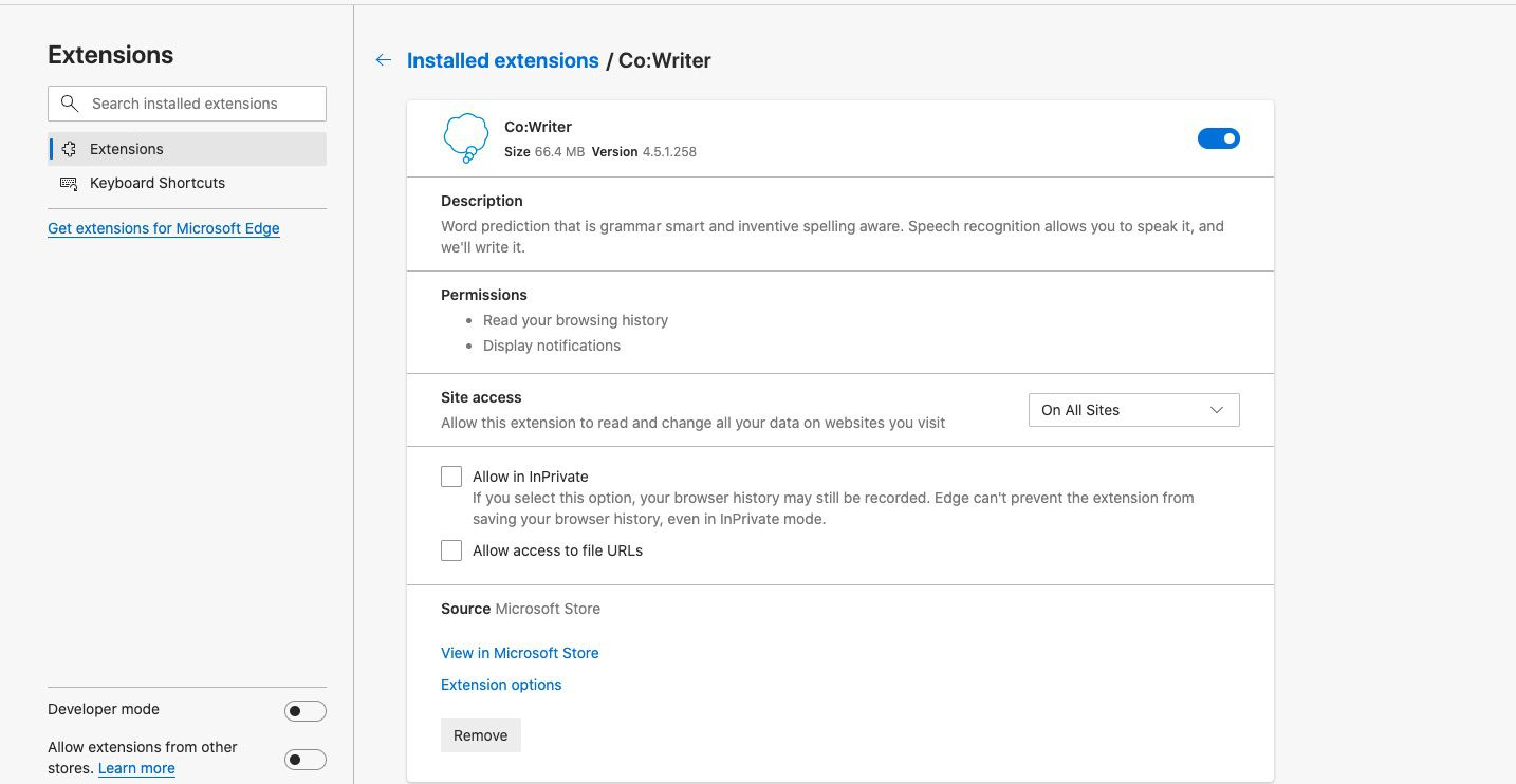 Extension permissions, site access settings, and other options.