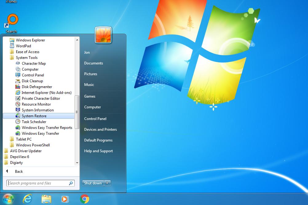 System Restore link in the Windows 7 Start menu