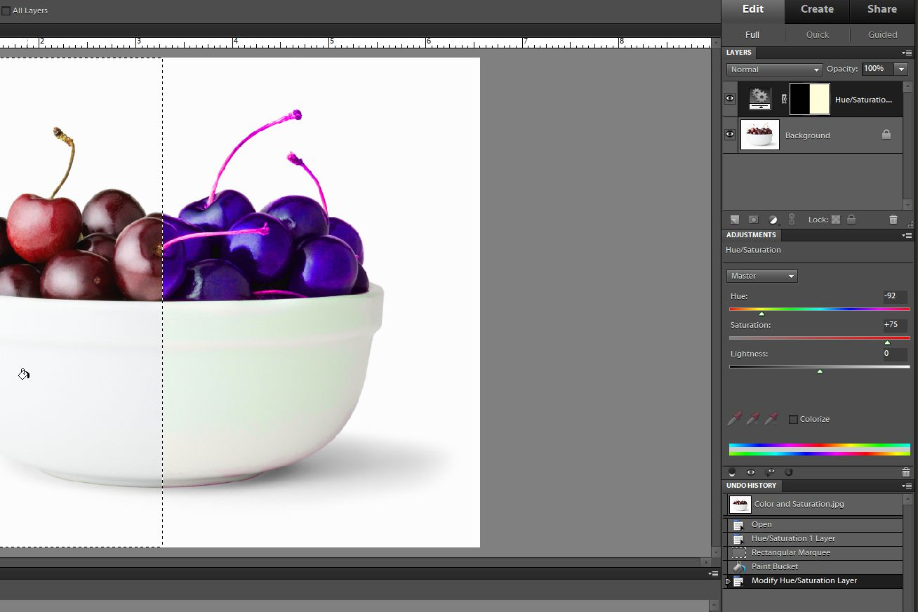 an image being edited in Photoshop